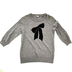 J CREW 3/4 SLEEVE SWEATER WITH SEQUIN BOW